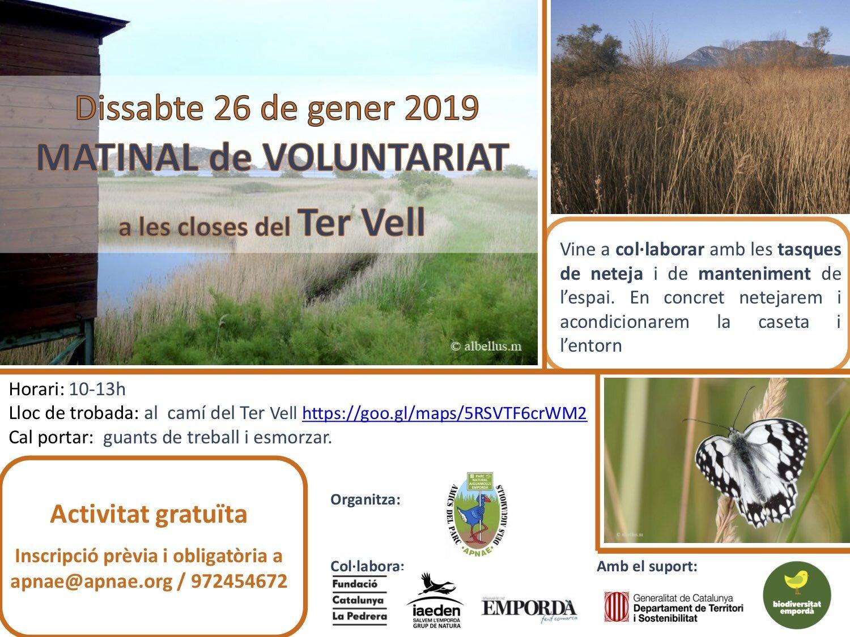 Matinal de voluntariat a l'espai del Ter Vell a Torroella de Montgrí 26 de gener
